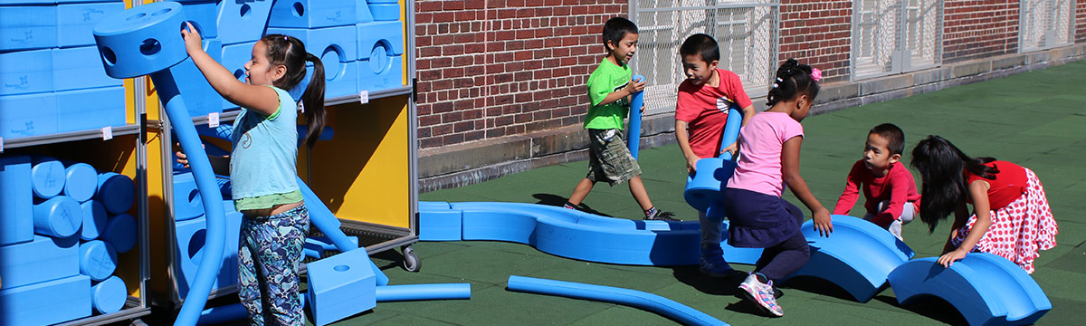 Students playing in the Imagination Playground