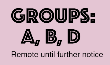 Group A, B & D -- Remote until further notice - 1-20-21
